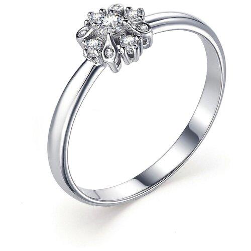 АЛЬКОР Кольцо с 9 бриллиантами из белого золота 13376-200, размер 19 алькор кольцо с бриллиантами из белого золота 585 пробы 12015 200 размер 19 5