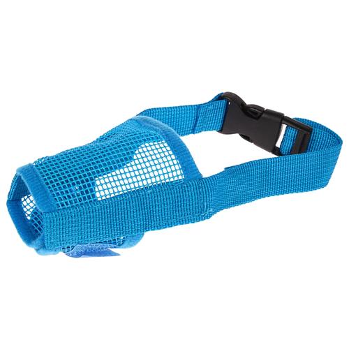 Намордник для собак Пижон сетчатый с двойной фиксацией M (3652884/3652887/3652890), обхват морды 28 см голубой