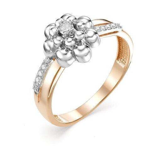 Мастер Бриллиант Кольцо Цветок с 11 бриллиантами из красного золота 1-106-578, размер 19
