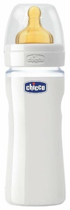 Chicco Бутылочка из стекла с соской из латекса Well-Being, 240 мл с рождения