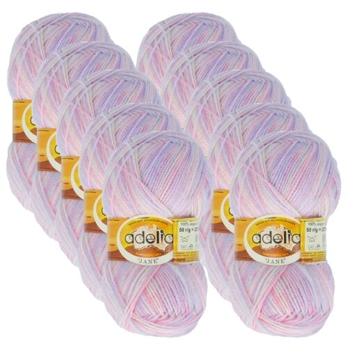 Купить Пряжа Adelia Jane, 100 % акрил, 50 г, 227 м, 10 шт., 02 белый-бл.розовый-бл.сиреневый