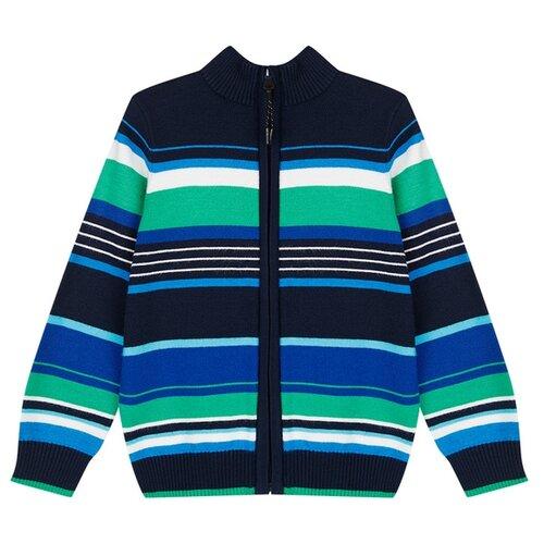 Купить Кардиган playToday размер 104, темно-синий/зеленый/белый, Свитеры и кардиганы