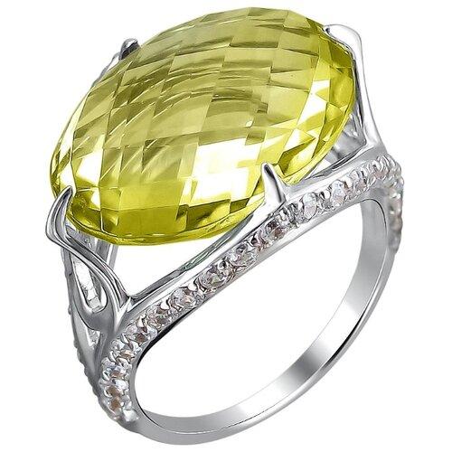 Эстет Кольцо с кварцем и фианитами из белого золота 01К325085-4, размер 15.5 фото