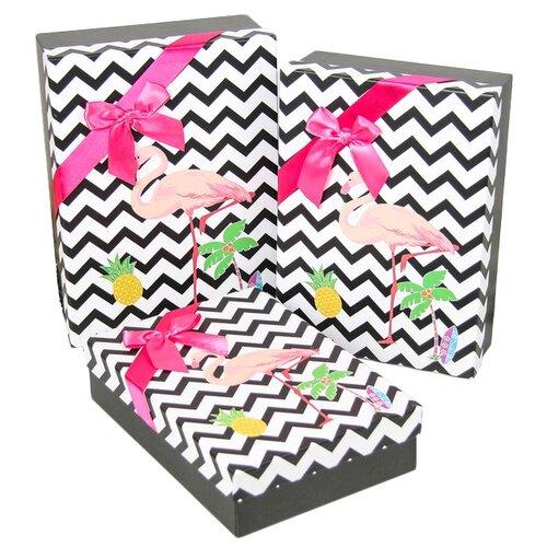 Набор подарочных коробок Yiwu Zhousima Crafts Фламинго, 3 шт черный