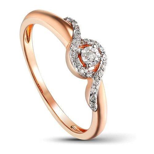 ЛУКАС Кольцо с 7 бриллиантами из красного золота R01-D-1983090AQXD-R1, размер 16.5 кольцо из золота r01 d r306443sap