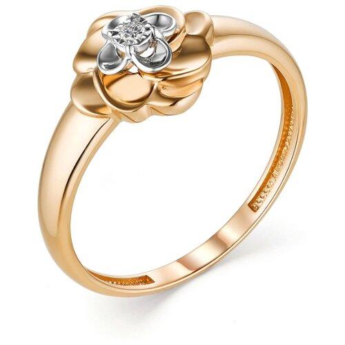 АЛЬКОР Кольцо с 1 бриллиантом из красного золота 13283-100, размер 16.5 фото
