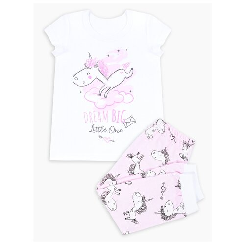 Купить Пижама Веселый Малыш размер 98, белый/розовый, Домашняя одежда
