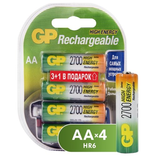 Аккумулятор Ni-Mh 2700 мА·ч GP Rechargeable 2700 Series AA 4 шт блистер аккумулятор ni mh 2700 ма·ч эра c0038458 2 шт блистер