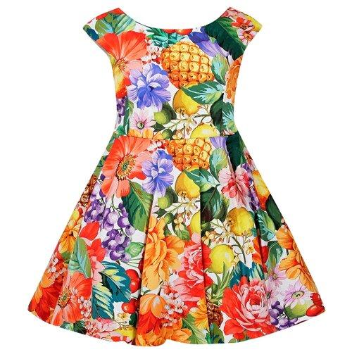 Платье Abel & Lula размер 140, зеленый/желтый/красный