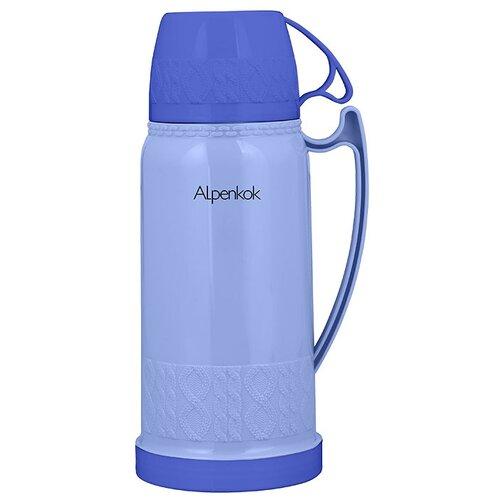 Классический термос Alpenkok со стеклянной колбой, 1.8 л синий