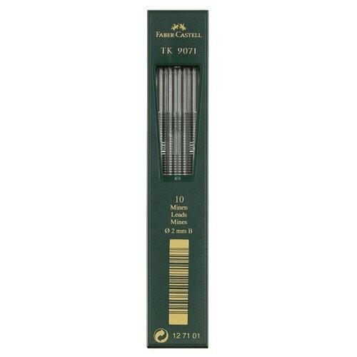 Фото - Faber-Castell Грифели для цанговых карандашей TK 9071, 2,0 мм, B, 10 штук черный канцелярия faber castell грифели для механических карандашей polymer 0 7 мм hb 12 шт