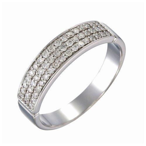 Sargon Jewelry Кольцо с 51 бриллиантом из белого золота R1403-1001, размер 17.5