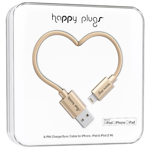 Кабель Happy Plugs Lightning to USB Charge/Sync MFI 2 м matte gold