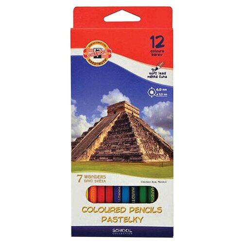 KOH-I-NOOR Карандаши цветные 7 чудес света, 12 цветов (3652012027KS) карандаши цветные 18цв 7 wonders к к подвес koh i noor кохинор