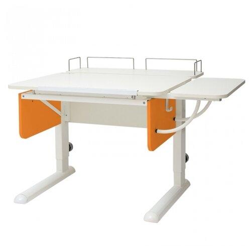 Стол детский Астек-Элара Юниор с задней и боковой приставкой 105x83 см белый/оранжевый