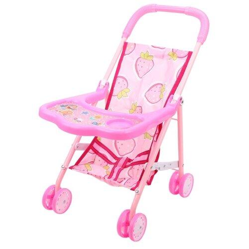 Прогулочная коляска Наша игрушка со столиком (818+) розовый