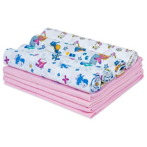 Купить Набор пеленок для новорожденного «В роддом» (ситец ассорти + фланель розовый) по 4 шт, Чудо-Чадо, Пеленки, клеенки