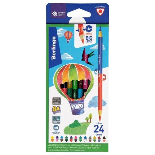 Купить Berlingo Карандаши цветные двусторонние SuperSoft Duo 24 цвета 12 штук (SSD0124), Цветные карандаши