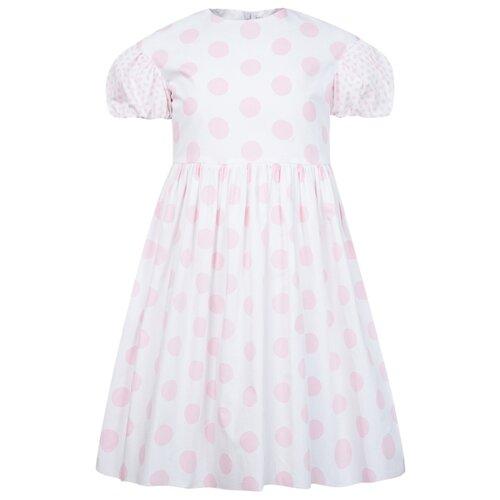 Платье Il Gufo размер 110, белый/горошек/розовый