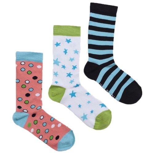 Носки Lunarable Геометрия, 3 пары, размер 35-39, розовый/белый/черный/голубой