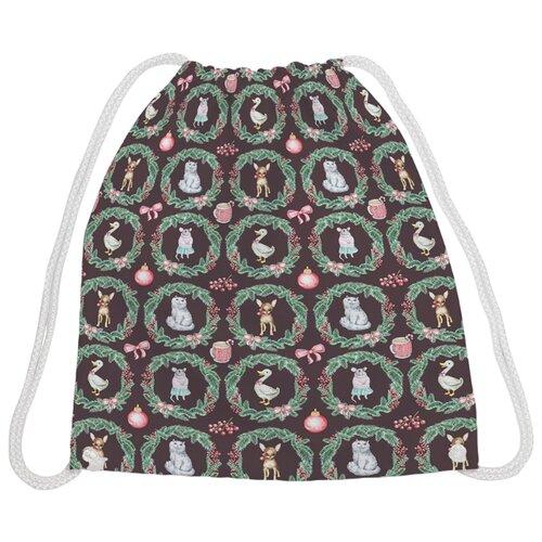 Купить JoyArty Рюкзак-мешок Новогодние гости (bpa_185495V1) коричневый/зеленый, Мешки для обуви и формы
