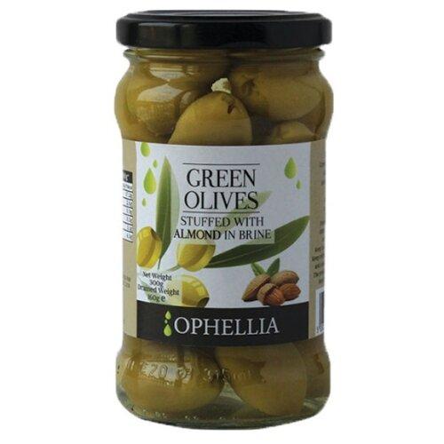 Ophellia Зеленые оливки фаршированные миндалем, стеклянная банка 315 мл