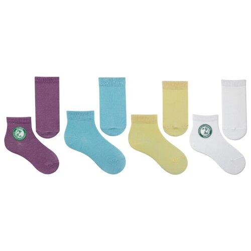 Купить Носки НАШЕ комплект 4 пары размер 20 (18-20), белый/голубой/св.желтый/сирень