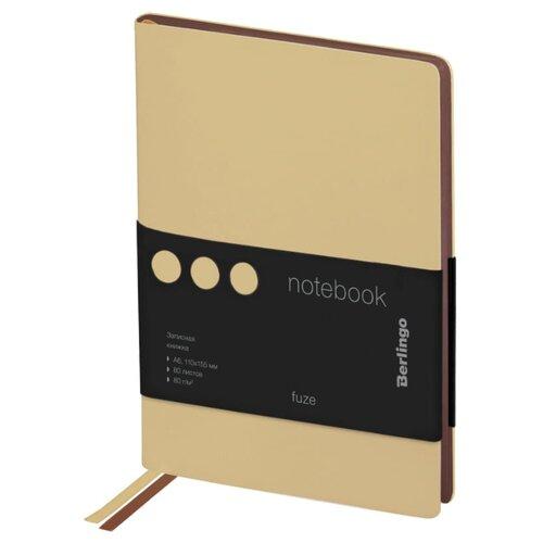 Купить Ежедневник Berlingo Fuze недатированный, искусственная кожа, А6, 80 листов, бежевый, Ежедневники, записные книжки