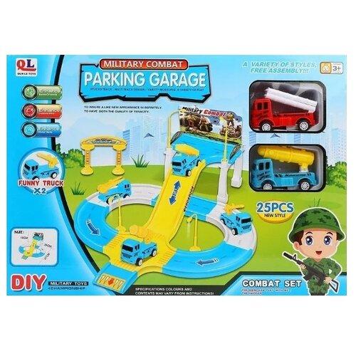 Купить Qun Le Toys P41 голубой/желтый/белый, Детские парковки и гаражи