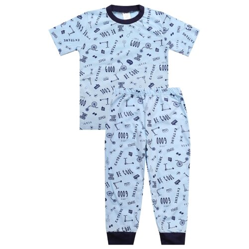 Купить Пижама KotMarKot размер 122, голубой, Домашняя одежда