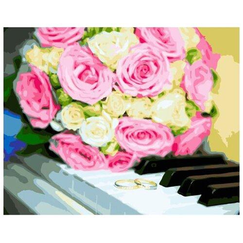 Купить Картина по номерам ВанГогВоМне ZX 23176 Розы на клавишах 40х50 см, Картины по номерам и контурам