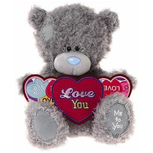 Мягкая игрушка Me to you Мишка Тедди с тремя сердцами Love you 25 см