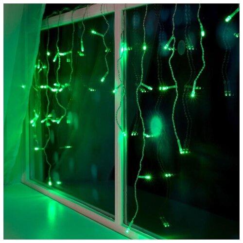 Гирлянда Luazon Lighting Бахрома 80 LED, 300х50 см, 80 ламп, зеленый/бесцветный провод гирлянда уличная lotti бахрома 480 led