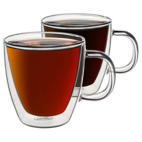 CnGlass Кружки с двойными стенками 2 шт 160 мл прозрачный комплект стаканов термосов с двойными стенками 250 мл х 2 шт
