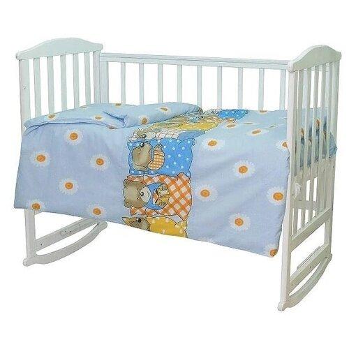 Купить Комплект постельного белья для новорожденного (бязь) Мама шила Мишки-лежебоки 3 предмета голубой (Размер пододеяльника 110x145, Размер простыни 100x150, Размер наволочки 40x60), МамаШила, Постельное белье и комплекты