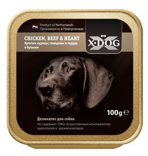 Корм для собак X-DOG курица, говядина, сердце 100г