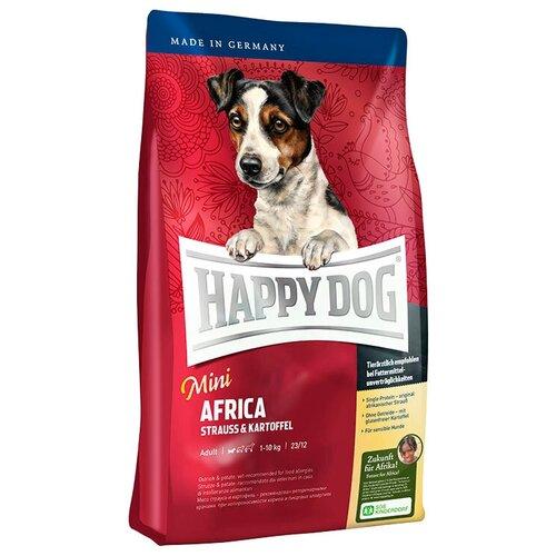 Сухой корм для собак Happy Dog Mini Africa, для здоровья кожи и шерсти, при чувствительном пищеварении, страус, с картофелем 1 кг (для мелких пород)