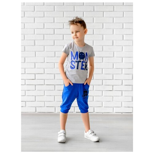 Футболка looklie размер 128-134, серый меланж комплект одежды looklie размер 128 134 розовый