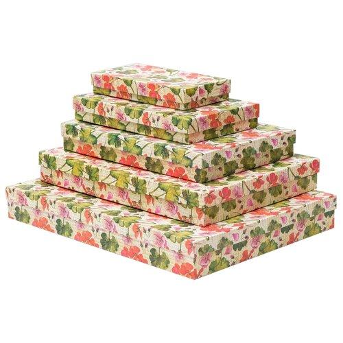 Набор подарочных коробок Мишель Фокс Герань №13, 5 шт бежевый/зеленый/красный