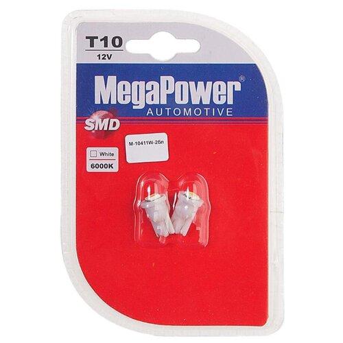Фото - Лампа автомобильная светодиодная MegaPower 0411W-2бл W5W (T10) 12V 10W 2 шт. 2pcs t10 w5w 80w cree xqb chip led hid