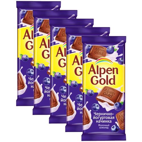 alpen gold шоколад молочный с соленым арахисом и крекером 5 шт по 85 г Alpen Gold Шоколад молочный с чернично-йогуртовой начинкой, 5 шт по 85 г