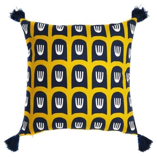 цена Чехол для подушки TKANO Cuts&Pieces Blossom time 45х45 см желтый/черный онлайн в 2017 году