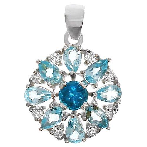 Balex Подвеска 3405937123 из серебра 925 пробы с топазом Лондон, топазом голубым природным и фианитом