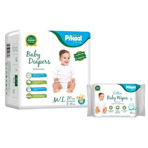 Купить Pikool подгузники Premium M/L (8-16 кг) 20 шт. + влажные салфетки Premium 10 шт., Подгузники
