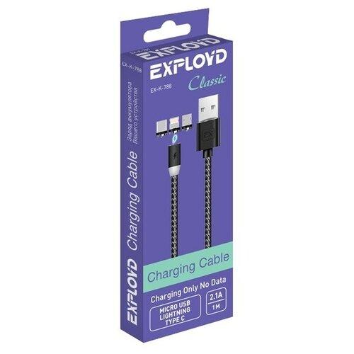 Фото - Аксессуар Exployd Classic Magnetic USB - MicroUSB / Lightning / Type-C 1m Black EX-K-788 аксессуар exployd magnetic usb lightning 1m blue ex k 562