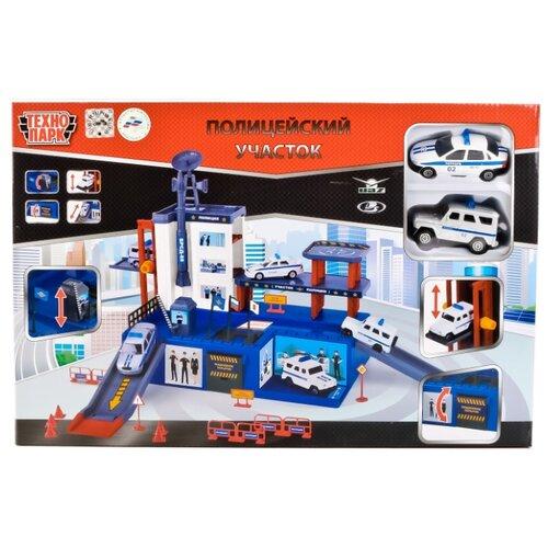 Купить ТЕХНОПАРК Полицейский участок 92086P-R синий/красный/белый/серый, Детские парковки и гаражи
