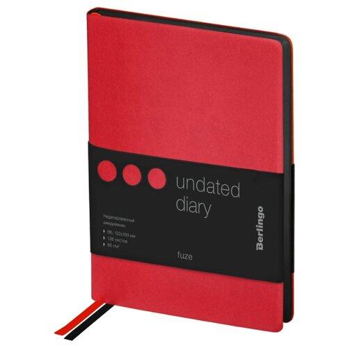 Купить Ежедневник Berlingo Fuze недатированный, искусственная кожа, А6, 80 листов, красный, Ежедневники, записные книжки