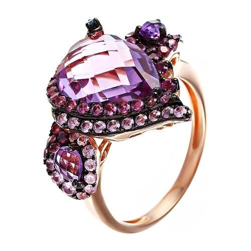 Фото - JV Кольцо с россыпью цветных и драгоценных камней из красного золота AAS-3447R-KO-DL-PS-AM-RH-PINK, размер 16.5 dl 5046 pink