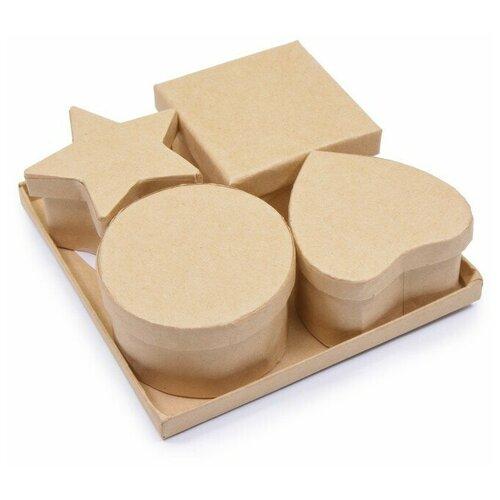 Шкатулки из картона для декорирования. Набор 4 ШТ. 11,8x3,7x11,8 см