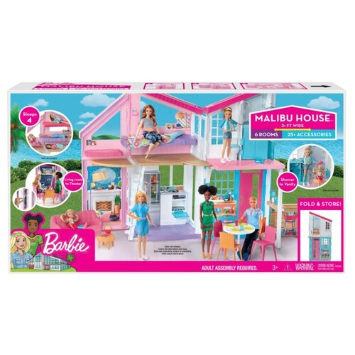 Купить Barbie кукольный домик Малибу FXG57, белый/розовый/голубой, Кукольные домики
